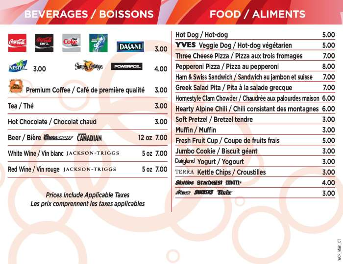 Just one of the hundreds of concession menus produced for the 2010 Olympic venues and Live Sites