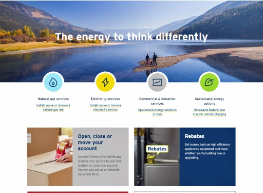 new home page of FortisBC website