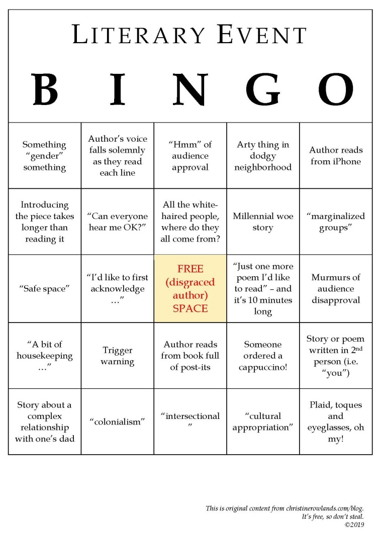 Literary Event bingo