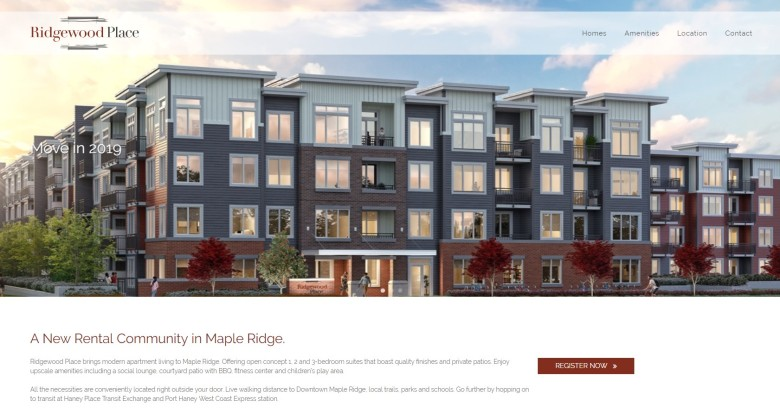 Ridgewood Place website screenshot